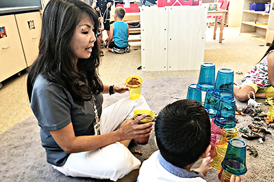 Students participate in engaging activities, like stacking blocks, at the Montessori Preschool at Valley View Elementary in El Dorado Hills.