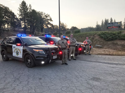 CHP Traffic Safety Enforcement team with vehicles