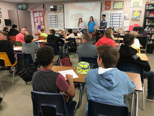 Union Mine High School Leadership Student present Tobacco Prevention Training to Mountain Creek middle schoolers