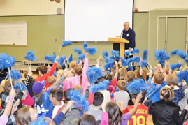 William Brooks Elementary School students and principal Kevin Cadden celebrated their National Blue Ribbon Award for school excellence at a special assembly last Friday. Village Life photo by Julie Samrick