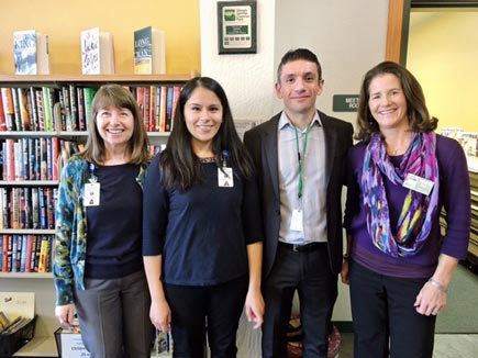Community Hub 2 Team (Cameron Park). Pictured (left to right): Shelley Grimwood, BSN, RN, (Public Health Nurse), Jazmine Victoria (Community Health Advocate), Jesus Cordova (Family Engagement Specialist), Marni Price (Early Childhood Literacy Specialist)