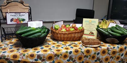 EDCOE transportation display of fruits and vegetables