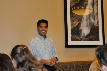 Dr. Ed Manansala, County Superintendent of Schools, speaks at the Red Hawk Casino luncheon celebration.
