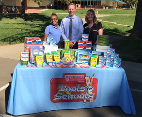 Pictured: Holly Brown, Schools Financial Credit Union; Patrick Paturel, Louisiana Schnell School Principal; and Fran Wallace, Schools Financial Credit Union, Placerville Branch Manager