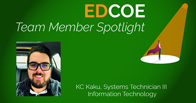 EDCOE Team Member Spotlight: Image of KC Kaku, Systems Technician III, Information Technology