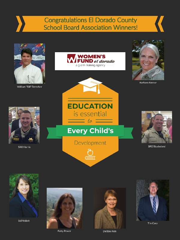 Graphic: Congratulations El Dorado County School Board Association Winners! Education is essential to Every Child's Development, Image of William
