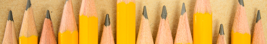 Picture of a row of yellow pencils