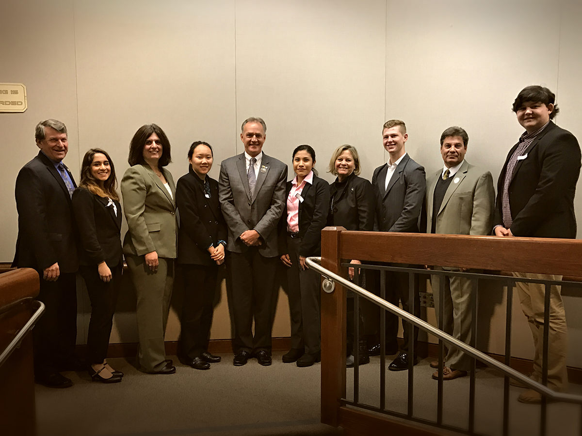El Dorado County Youth Commissioners enjoyed Shadow Day with the Board of Supervisors. Pictured left to right:  John Hidahl, Misbah Shafi, Shiva Frentzen, Tifany Wong, Brian Veerkamp, Sidney Esparza, Sue Novasel, Christian Anglin, Michael Ranalli, Joseph Goulart.