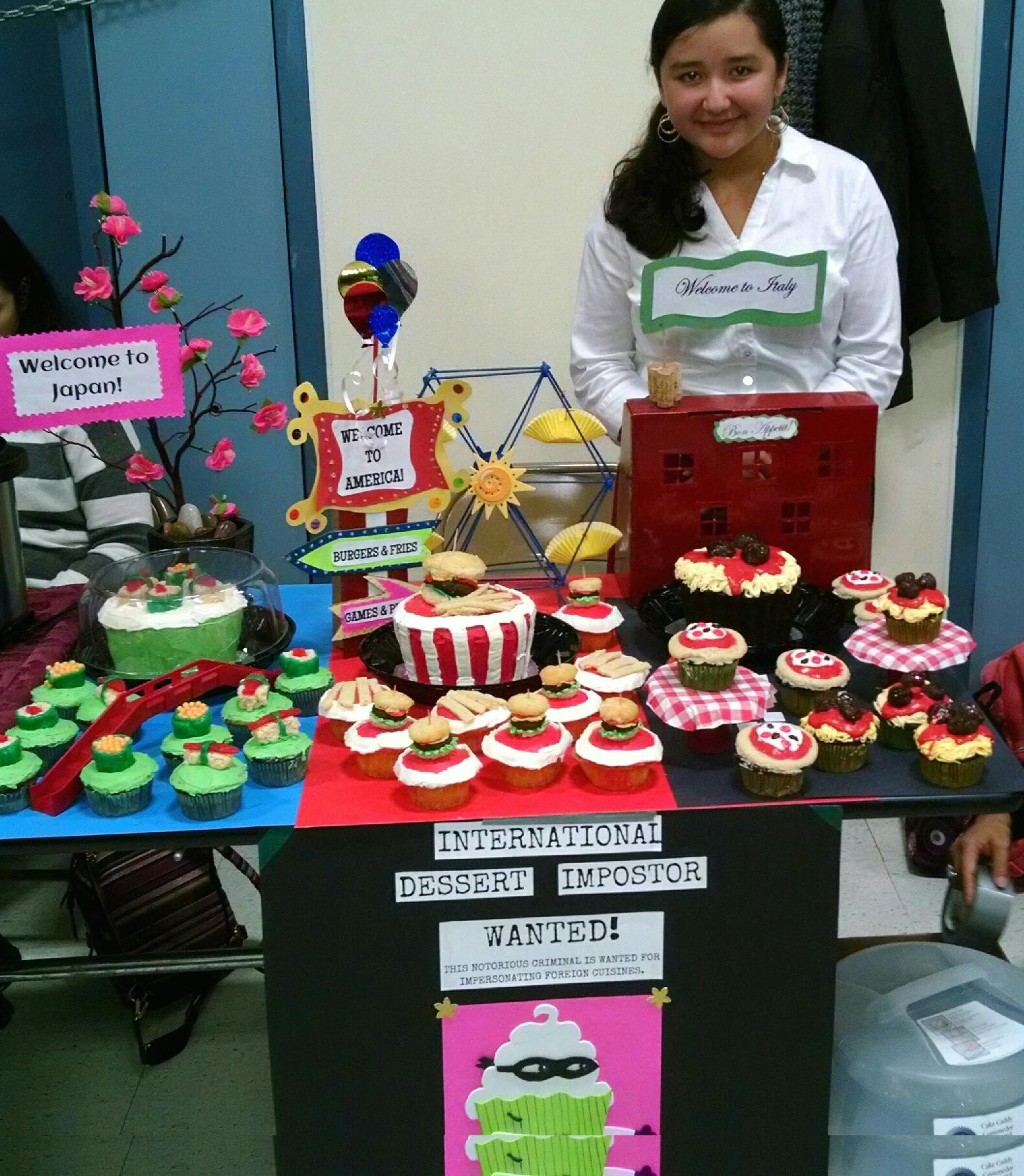 Sixth grade student, Olivia Kaihe, markets her