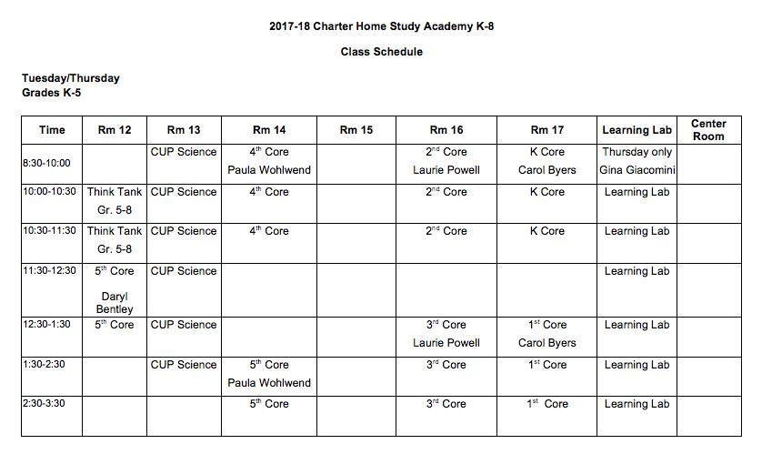 class schedules charter home study academy k 8