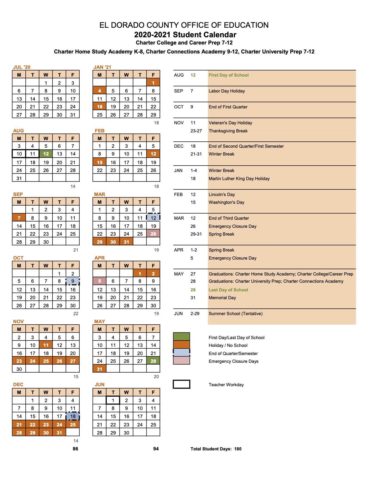 20-21 Student Calendar